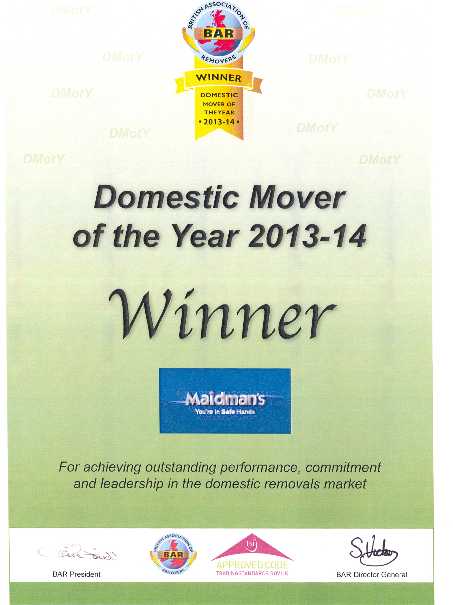 Domestic Mover of the Year Cert 2013-14