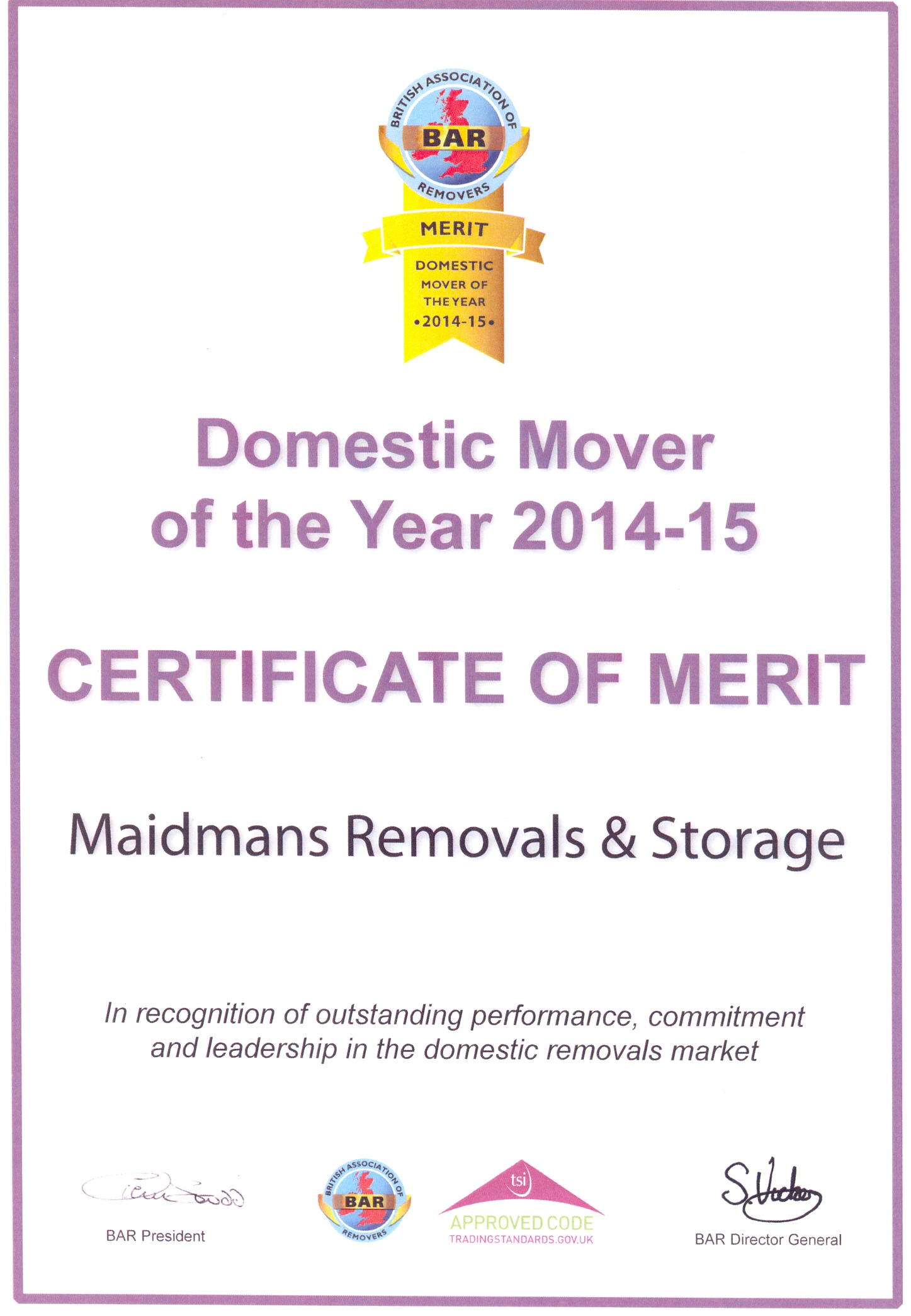 Domestic Mover of the Year Finalist Merit 2014-15