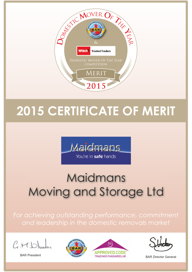 domestic mover of the year 2015 certificate of merit Maidmans.com