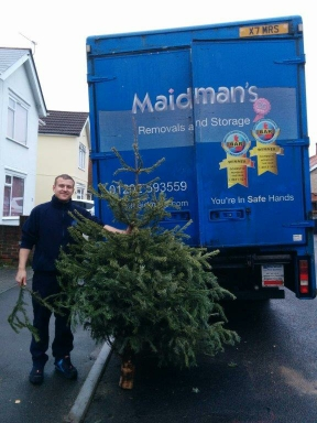 Charity Christmas Tree Recycling Scheme Image of tree & truck