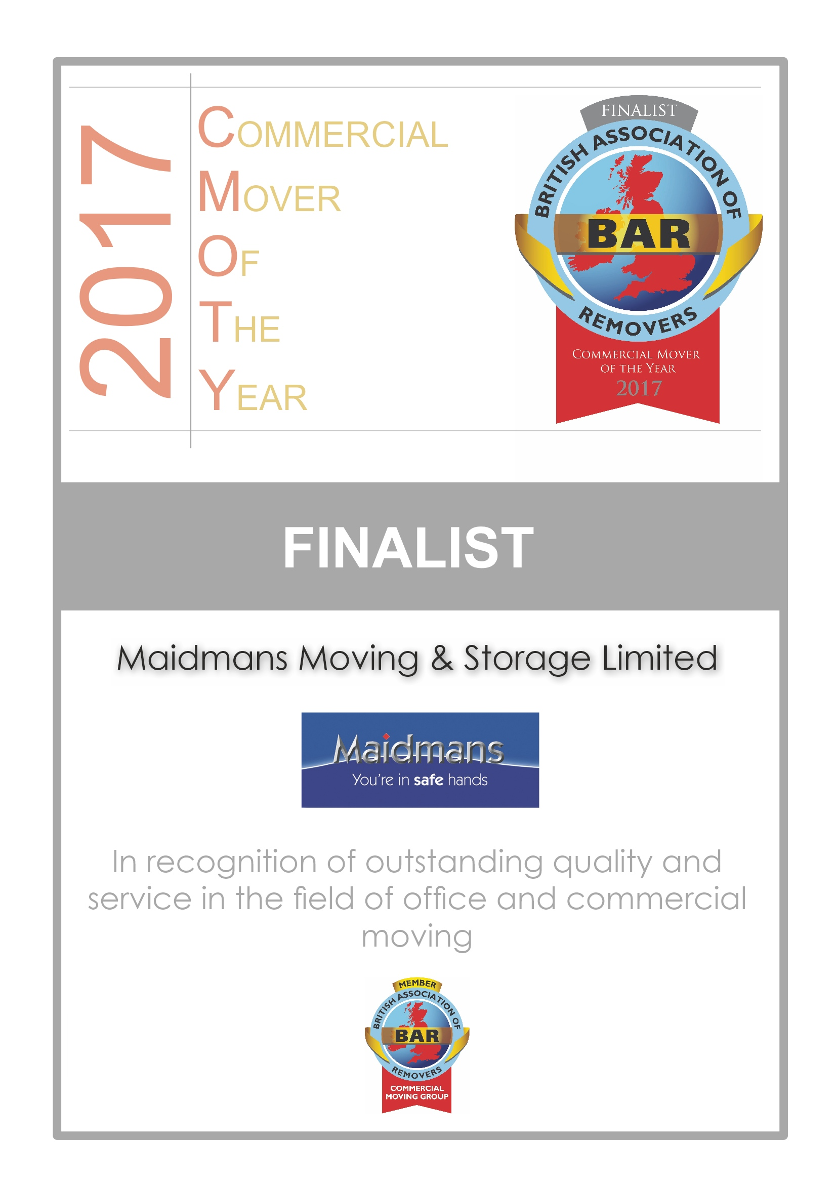 Commercial Mover of the Year 2017 Certificate image