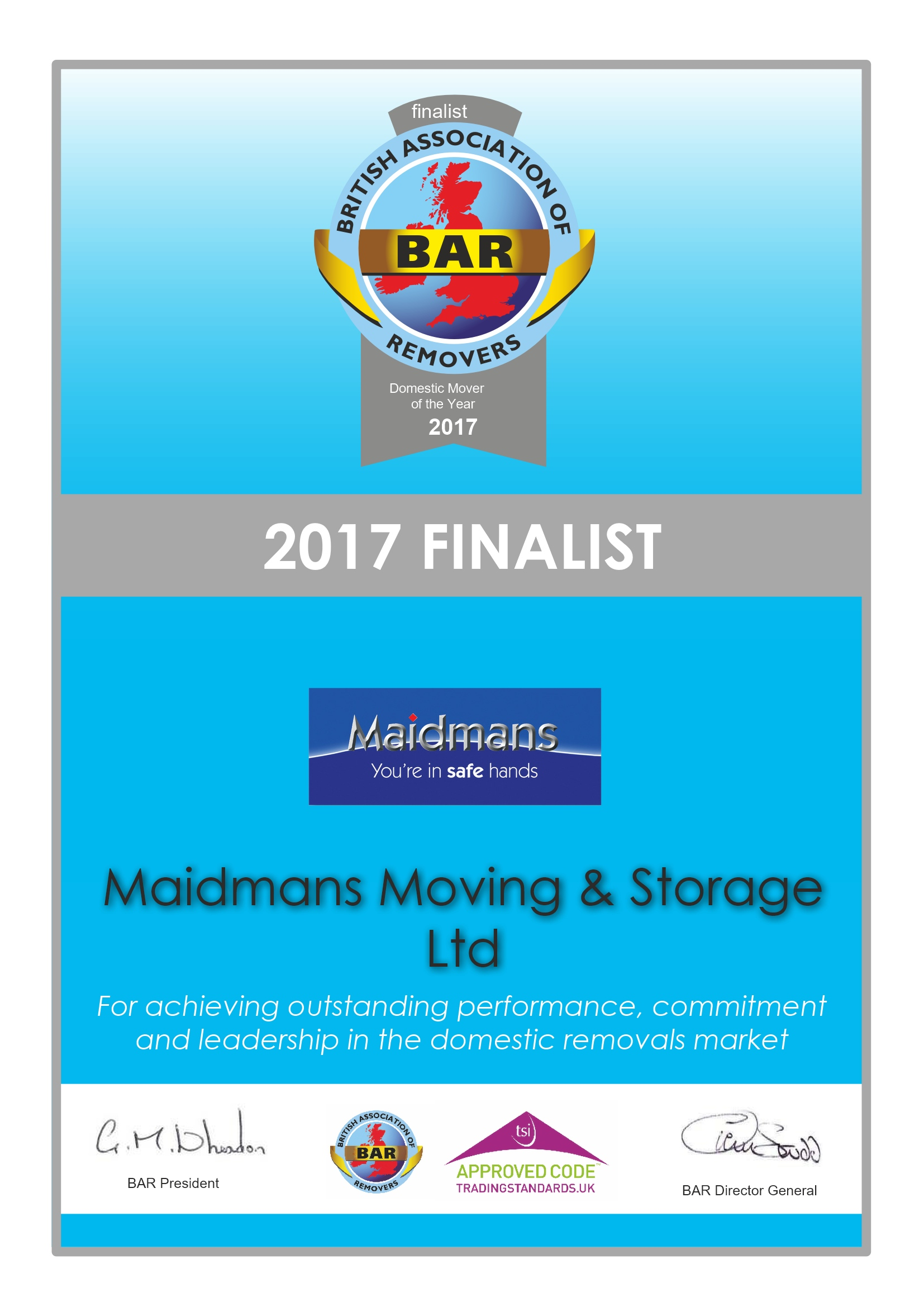 Domestic Mover of the Year 2017