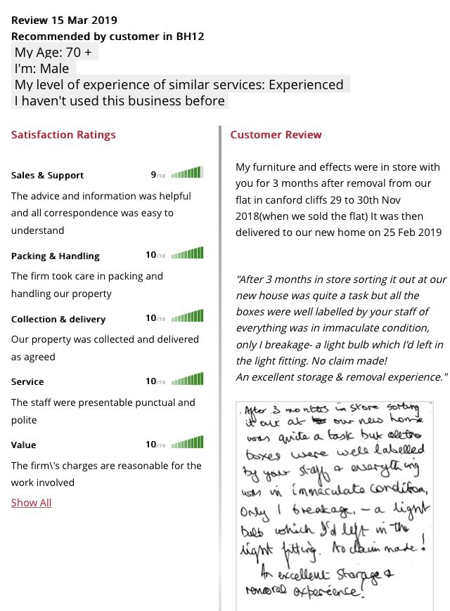 Testimonial from March 15th 2019. Another happy customer
