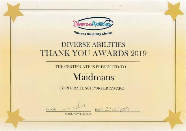 Diverse Abilities Award Certificate
