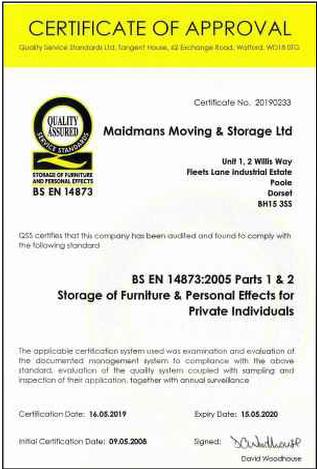 BS EN 14873 2005 Furniture Storage Certificate
