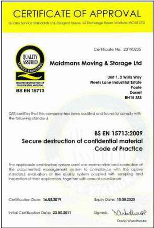 BS EN 15713 2009 Secure Shredding Certificate