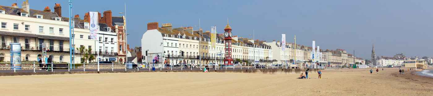 Weymouth beach and promenade on a sunny day