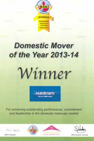 Domestic Mover of the Year Winner Certificate 2013-14